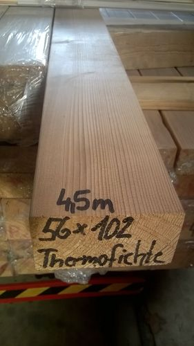 Kantholz - Thermofichte: 56 x 102 mm x 4,5 m A / B-Sortierung